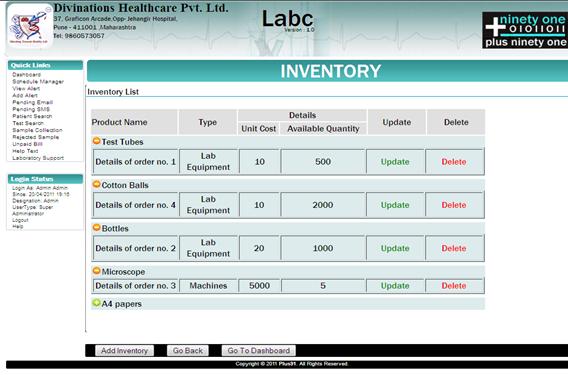 Labc Inventory Labc Lab Information System Lims